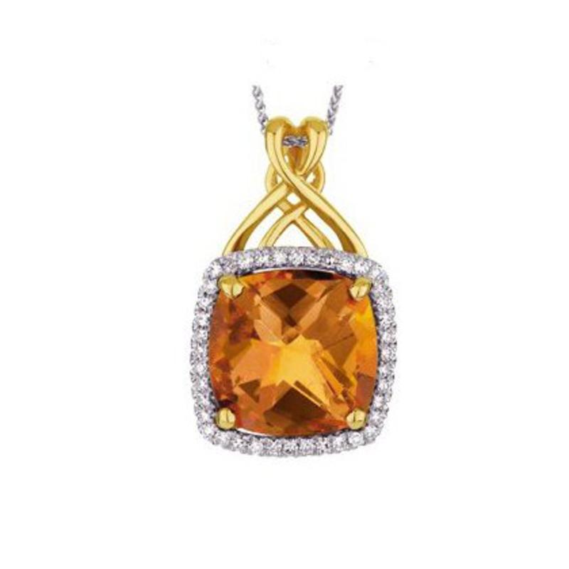10K Yellow Gold Citrine and Diamond Pendant