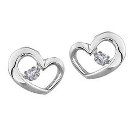 10K White Gold (0.10ct) Dancing Diamond Heart Earrings