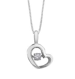 10K White Gold (0.05ct) Dancing Diamond Heart Pendant