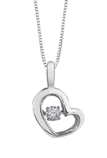 White Gold (0.10ct) Dancing Diamond Heart Pendant