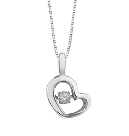 White Gold (0.10ct) Dancing Diamond Heart Pendant
