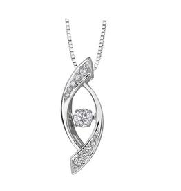 White Gold (0.22ct) Dancing Diamond Pendant