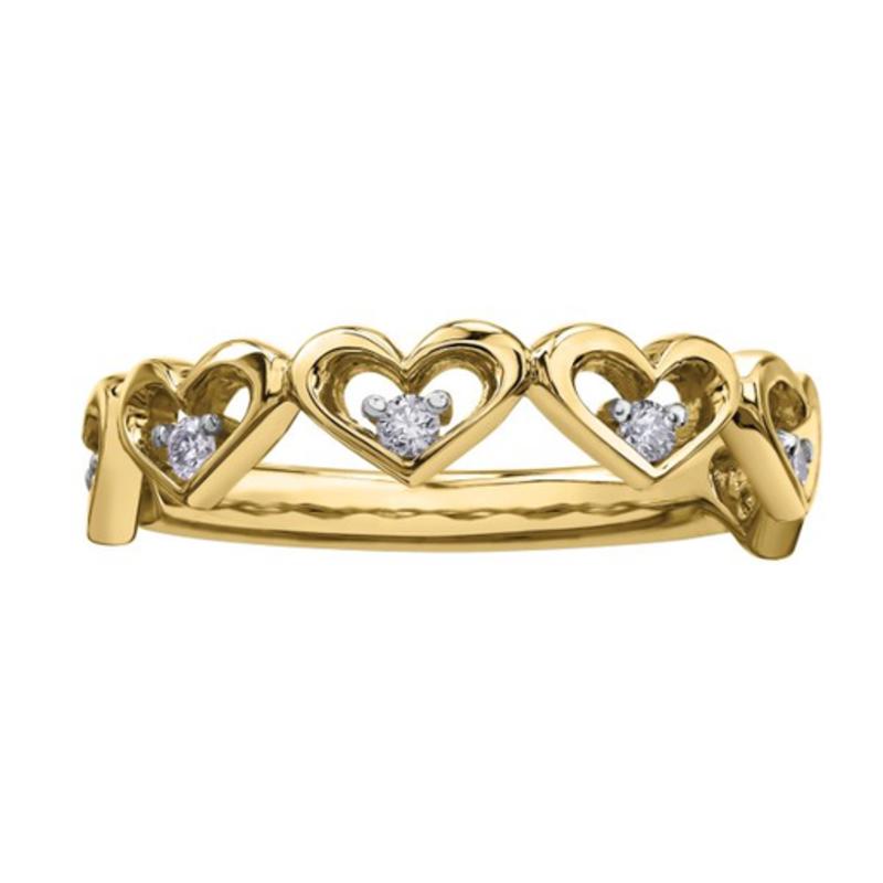 Yellow Gold Diamond Heart Ring (0.12ct)