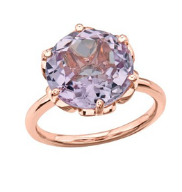Rose Gold 12mm Lilac Amethyst Ladies Ring