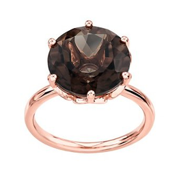 Rose Gold Smokey Quartz Ladies Ring