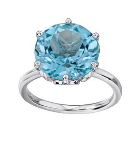 White Gold 12mm Blue Topaz Ladies Ring