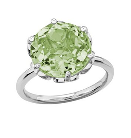 White Gold 12mm Green Amethyst Ladies Ring