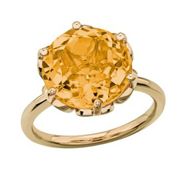 Yellow Gold Ladies 12mm Citrine Ring