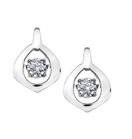 10K White Gold (0.04ct) Dancing Diamond Earrings