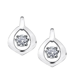 White Gold Dancing Diamond Earrings (0.04ct)