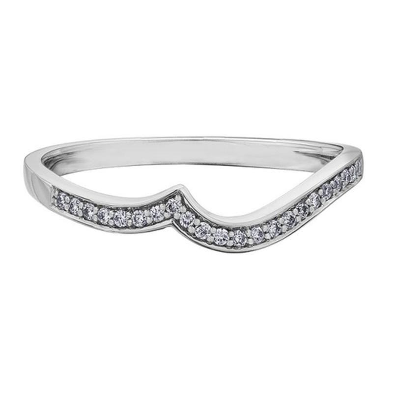 10K White Gold (0.09ct) Pavee Set Diamond Matching Wedding Band