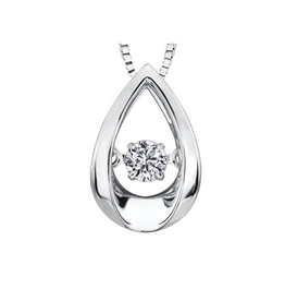 10K White Gold (0.10ct) Dancing Diamond Pendant