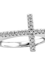 10K White Gold (0.15ct) Diamond Sideways Cross Ring