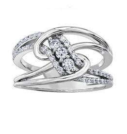 Maple Leaf Diamonds Palladium White Gold Canadian Diamond Fancy Ring