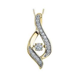 10K Yellow Gold (0.28ct) Dancing Diamond Pendant