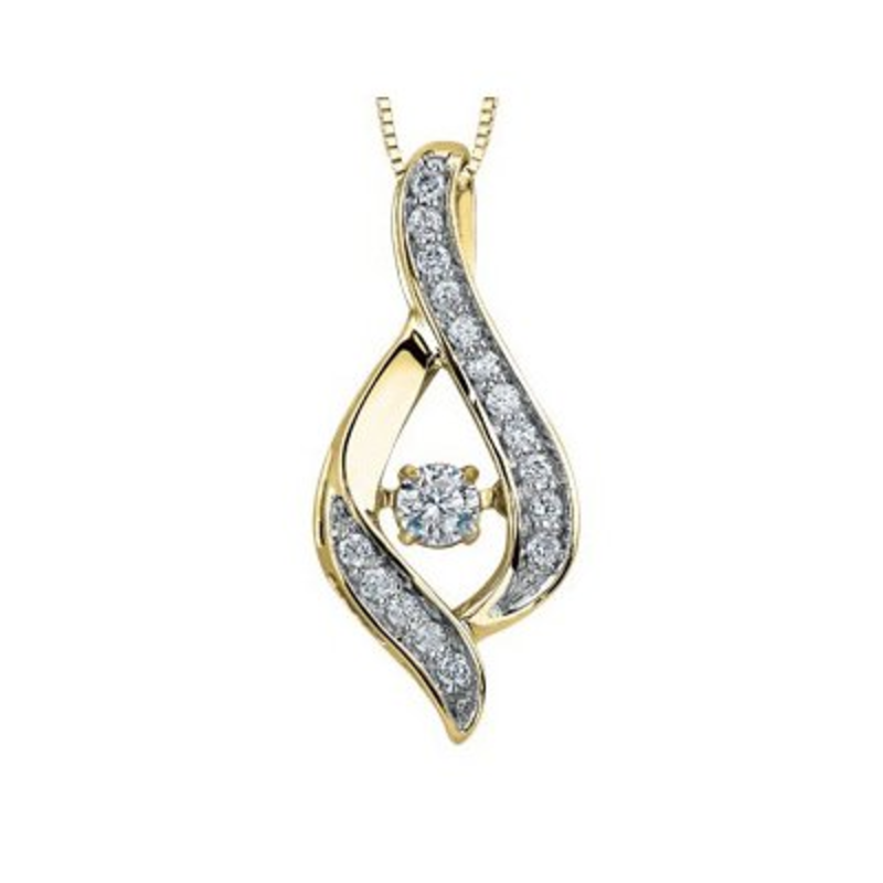 Yellow Gold (0.28ct) Dancing Diamond Pendant