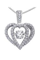 White Gold (0.33ct) Dancing Diamond Pendant
