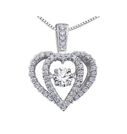 White Gold (0.33ct) Dancing Diamond Pendant