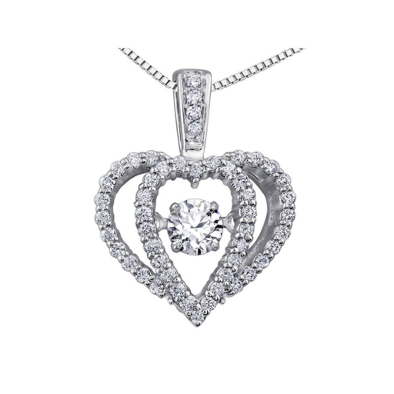 10K White Gold (0.33ct) Dancing Diamond Heart Pendant