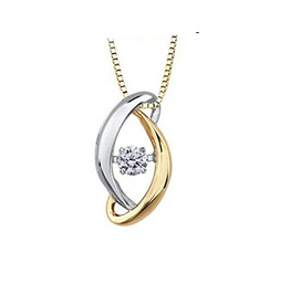 Yellow & White Gold (0.09ct) Dancing Diamond Pendant