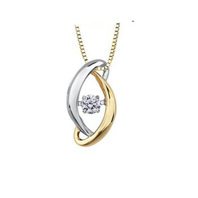 10K Yellow and White Gold (0.09ct) Dancing Diamond Contemporary Pendant