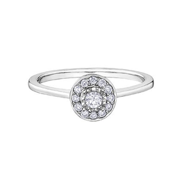 Halo Diamond (0.19ct) White Gold Ring