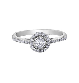 10K White Gold (0.35ct) Halo Diamond Ring