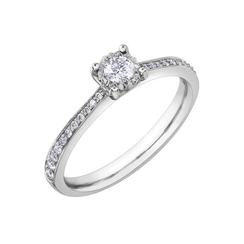 10K White Gold (0.26ct) Diamond Illusion Setting Engagement Ring
