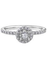 10K White Gold (0.40ct) Diamond Halo Engagement Ring