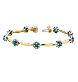 Yellow Gold Emerald and Diamond Fancy Bracelet