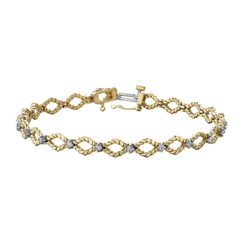 10K Yellow & White Gold (0.42ct) Diamond Bracelet