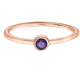 Amethyst Stackable 10K Rose Gold Ring