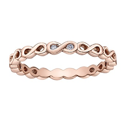 10K Rose Gold (0.015ct) Diamond Stackable Infinity Band