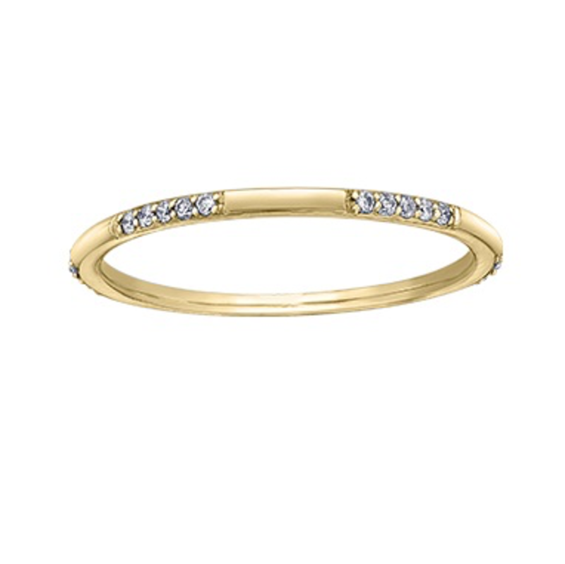 Yellow Gold (0.10ct) Diamond Stackable Band