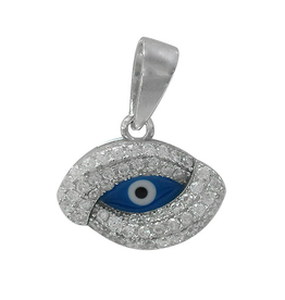 Silver Evil Eye Pendant Cubic Zirconia and Dark Blue Enamel Rhodium Plated