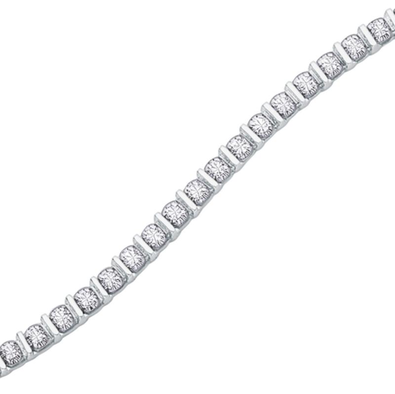 White Gold (0.50ct) Diamond Tension Set Tennis Bracelet