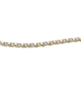 10K Yellow Gold (0.15ct) Hugs and Kisses Diamond Tennis Bracelet