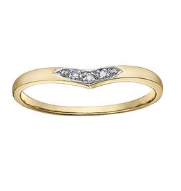 10K Yellow Gold (0.015ct) Diamond Stackable Chevron Wedding Band