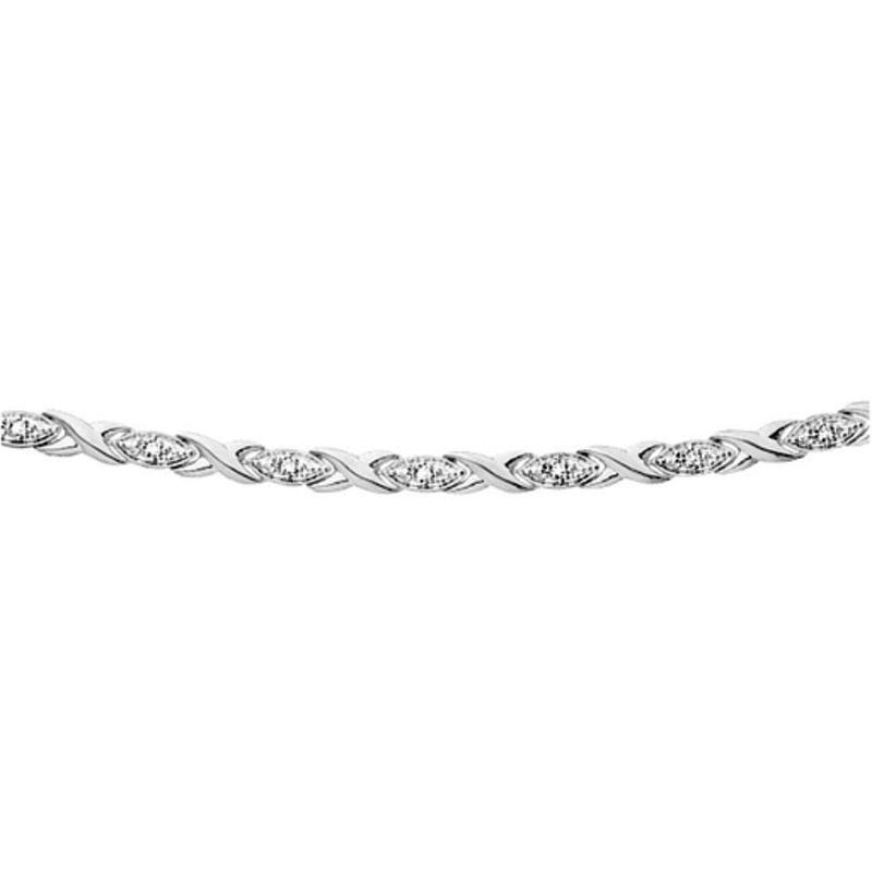 10K White Gold (0.10ct) Hugs and Kisses Diamond Bracelet