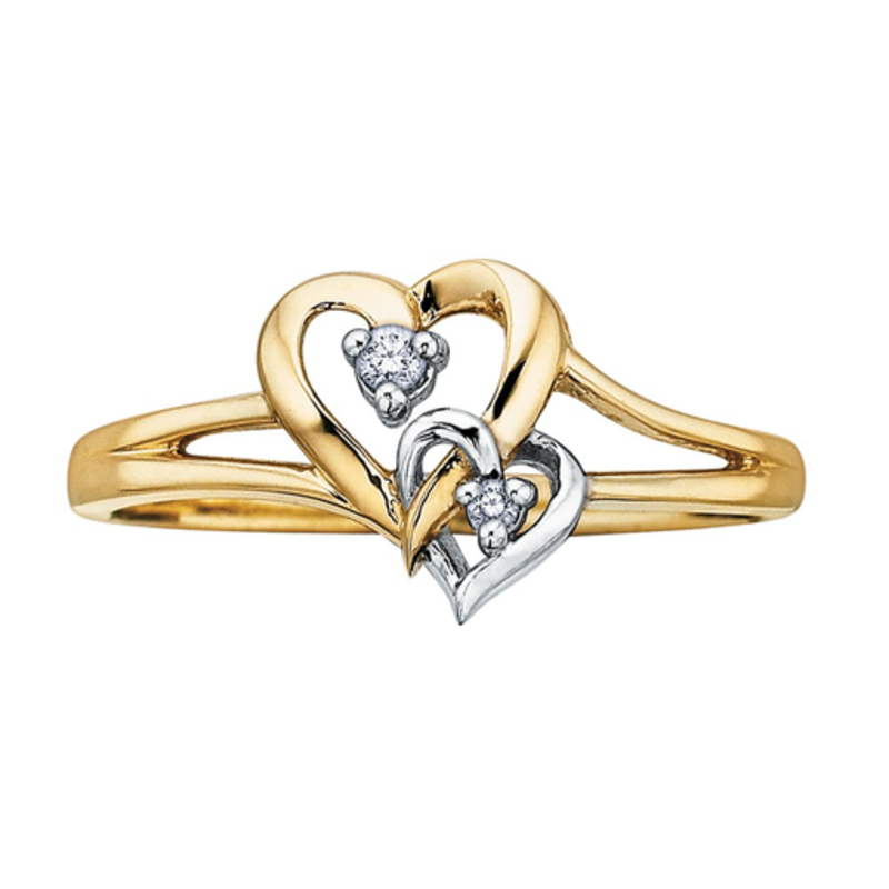 10K Two Tone Yellow and White Gold (0.03ct) Diamond Double Heart Ring
