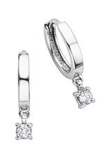10K White Gold (0.25ct) Dangle Diamonds Hoop Earrings
