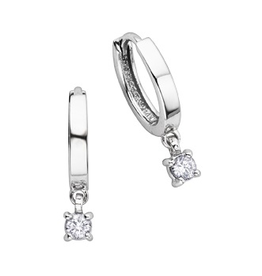 White Gold (0.25ct) Dangle Diamonds Hoop Earrings