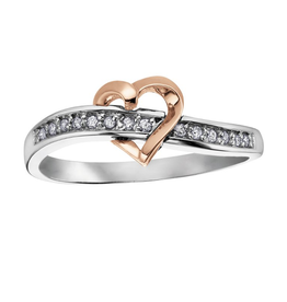 Rose and White Gold Floating Heart Diamond Ring (0.07ct)