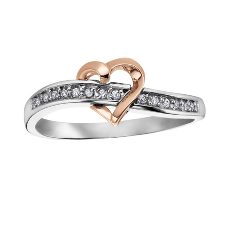 10K Two Tone White and Rose Gold (0.07ct) Diamond Floating Heart Promise Ring