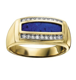 Yellow Gold Mens Lapis and Diamond Ring