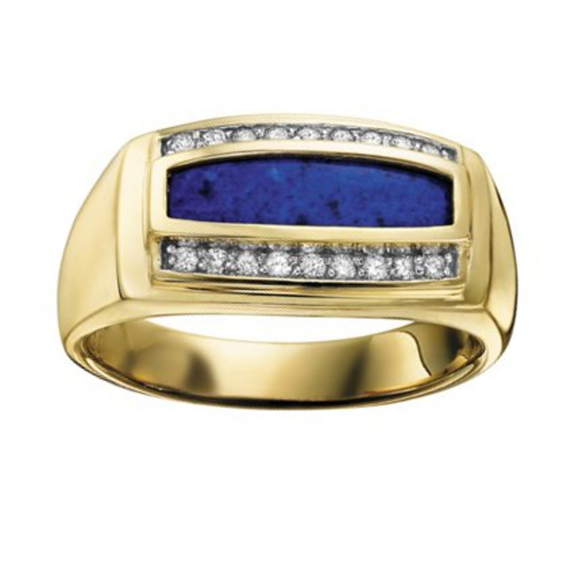 10K Yellow Gold Mens Lapis and Diamond Ring