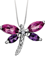 10K White Gold Amethyst, Pink Topaz and Diamond Dragonfly Pendant