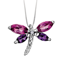 White Gold Pink Topaz, Amethyst and Diamond Dragonfly Pendant
