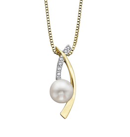 Yellow and White Gold (0.03ct) Pearl and Diamond Pendant