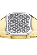 10K Yellow and White Gold (0.33ct) Pavee Set Diamond Men's Ring